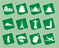 Travel icons. Vector icons of world attractions Stock Image