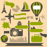 Travel icons. Vintage vector travel icons set Royalty Free Stock Photos