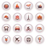 Travel icons for web.  Black red series. Stock Photography