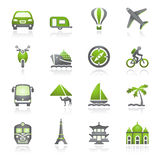 Travel icons for web.  Gray and green series. Stock Photo