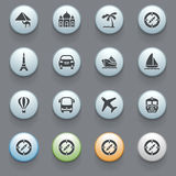 Travel icons for website on gray background. Stock Photo