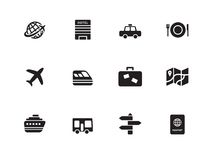 Travel icons on white background. Vector illustration Royalty Free Stock Photos