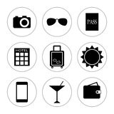 Travel icons on white background. Royalty Free Stock Images