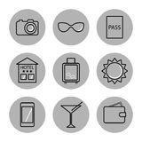 Travel icons on white background. Royalty Free Stock Photography