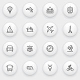 Travel icons with white buttons on gray background Royalty Free Stock Images