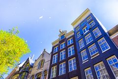 Travel Ideas and Concepts. Traditional Amsterdam Houses Royalty Free Stock Images