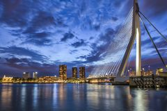 Travel Ideas. Picturesque View of Erasmusbrug Erasmus Bridge Royalty Free Stock Image
