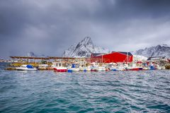 Red Fisherman Houses and Line of Fisherman Boats royalty free stock photo