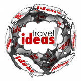 Travel Ideas Thought Cloud Sphere Vacation Plan Brainstorming Stock Image