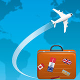 Travel. Illustration of an airplane flying on the world ,and traveler suitcase Stock Image