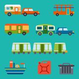 Travel illustration with different types of transport Royalty Free Stock Photography