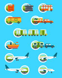 Travel illustration with different types of transport Stock Photos