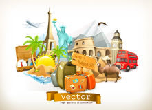 Travel illustration icons Royalty Free Stock Images