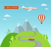 Travel illustration with landscape Stock Image