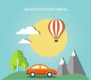 Travel illustration with landscape Stock Photo