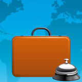 Travel. Illustration of a suitcase and hotel ring on the world background Royalty Free Stock Photos