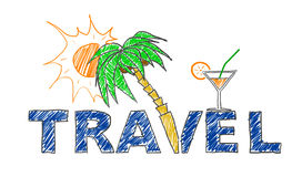 Travel. Illustration travel text with palm and cocktail, 3D Rendering stock illustration