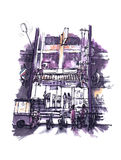 Travel illustration of Thailand convenience store open at night. Watercolor painting of Thailand convenience store open at night royalty free illustration