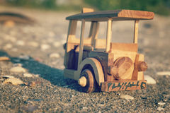 Travel image concept, wooden miniature tuk-tuk, most iconic Thailand transportation Stock Images