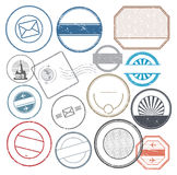 Travel or immigration passport empty stamps symbols set Royalty Free Stock Photography