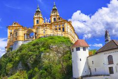 Travel In Austria, Wachau Valley, Danube River. Barroque Abbey Melk Royalty Free Stock Image