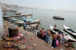 Travel India. Benaras, is considered as the cultural capital of the oldest and holiest cities in India and home to the most famous ghats (steps leading down to Stock Photography