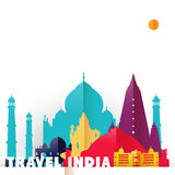 Travel India country paper cut world monuments Royalty Free Stock Image