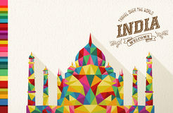 Travel India landmark polygonal monument vector illustration