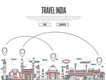 Travel India poster in linear style. Travel India poster with national architectural attractions and air route symbols in trendy linear style. Indian famous Royalty Free Stock Photos