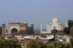 Travel India: Taj Mahal and South gate in Agra Royalty Free Stock Photography