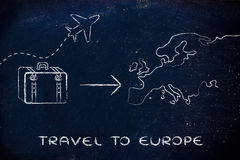 Travel industry: airplane and luggage going to Europe. Plane air route and luggage, travel to Europe Royalty Free Stock Photography