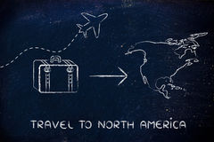 Travel industry: airplane and luggage going to North America. Plane air route and luggage, travel to North America Royalty Free Stock Photos