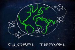 Travel industry: airplanes around the world. Airplanes with trails flying around the world: global travel industry Royalty Free Stock Image