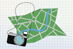 Travel industry: camera and map illustration Royalty Free Stock Photography