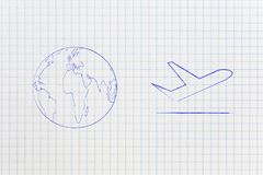 World next to airplane icon, travel industry stock illustration