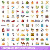 100 travel industry icons set, cartoon style. 100 travel industry icons set. Cartoon illustration of 100 travel industry vector icons isolated on white Royalty Free Stock Photography