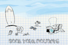 Travel industry: objects for summer holiday at the beach stock illustration