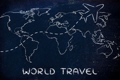 Travel industry: world map with airplane routes. Plane air route and world map, global travel and business Royalty Free Stock Photos