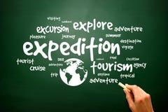 Travel info-text graphics concept word cloud, presentation backg Stock Images