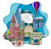 Travel infographic ,Amazing  Moscow , Russia  infographic ,Discover Moscow concept,paper art Russia  concept. Travel infographic ,Amazing  Moscow 2018 , Russia Royalty Free Stock Photos
