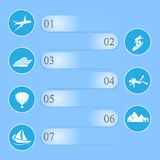 Travel infographic on blue background Stock Photos