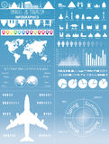 Travel Infographic set with landmarks, icons and world map Royalty Free Stock Photography