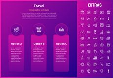 Travel infographic template, elements and icons. Travel options infographic template, elements and icons. Infograph includes line icon set with tourist Stock Image