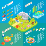 Travel infographic in vector isometric style. Camping outdoor activity. Flat 3d isometric design. Family vacation and. Hiking. Camp in forest Royalty Free Stock Image
