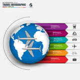Travel infographic with vector world map Stock Images