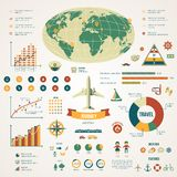 Travel infographics with data icons and elements. Stock Images