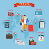 Travel infographics flat style concept web template. Couple selfie and vacation search plan booking budget ticket luggage passport visa camera. Creative Stock Image