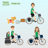 Travel infographics.Hipster Tourist and family  father daughter Royalty Free Stock Photography