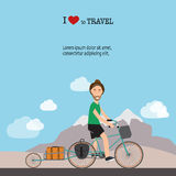Travel infographics.Hipster Tourist with touring bicycle vector. Royalty Free Stock Photo