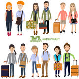 Travel infographics.Hipster Tourist Royalty Free Stock Photos